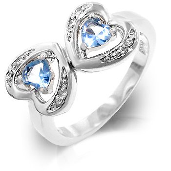 Cubic Zirconia Fashion Ring in Ocean Blue, size 8