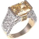 Fashion Ring with yellow & clear CZ in goldtone, size 8