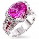 Fashion Ring with pink & clear CZ in silvertone, size 8