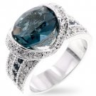 Cubic Zirconia Fashion Ring with Dirty Blue CZ in silvertone, size 8