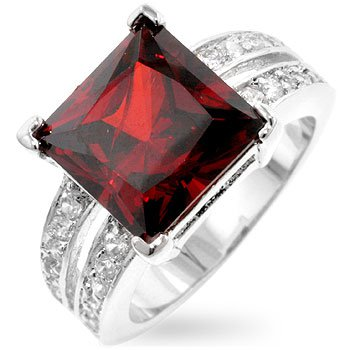 Cubic Zirconia Fashion Ring with red & clear CZ in silvertone, size 8