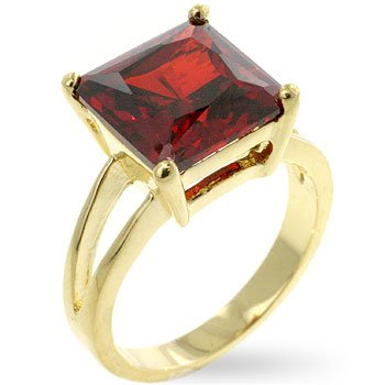 Fashion Ring with Red/Ruby Crystal in goldtone, size 8