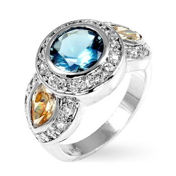 Cubic Zirconia Fashion Ring in Blue & Champagne, size 8