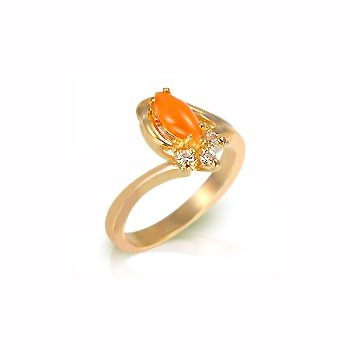 Fashion Ring with coral genuine stone & clear Cubic Zirconia in gold tone, size 8