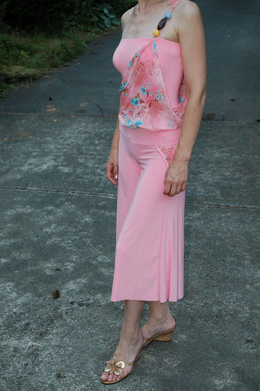 Pink combo: one-piece pants with top, size Large, L