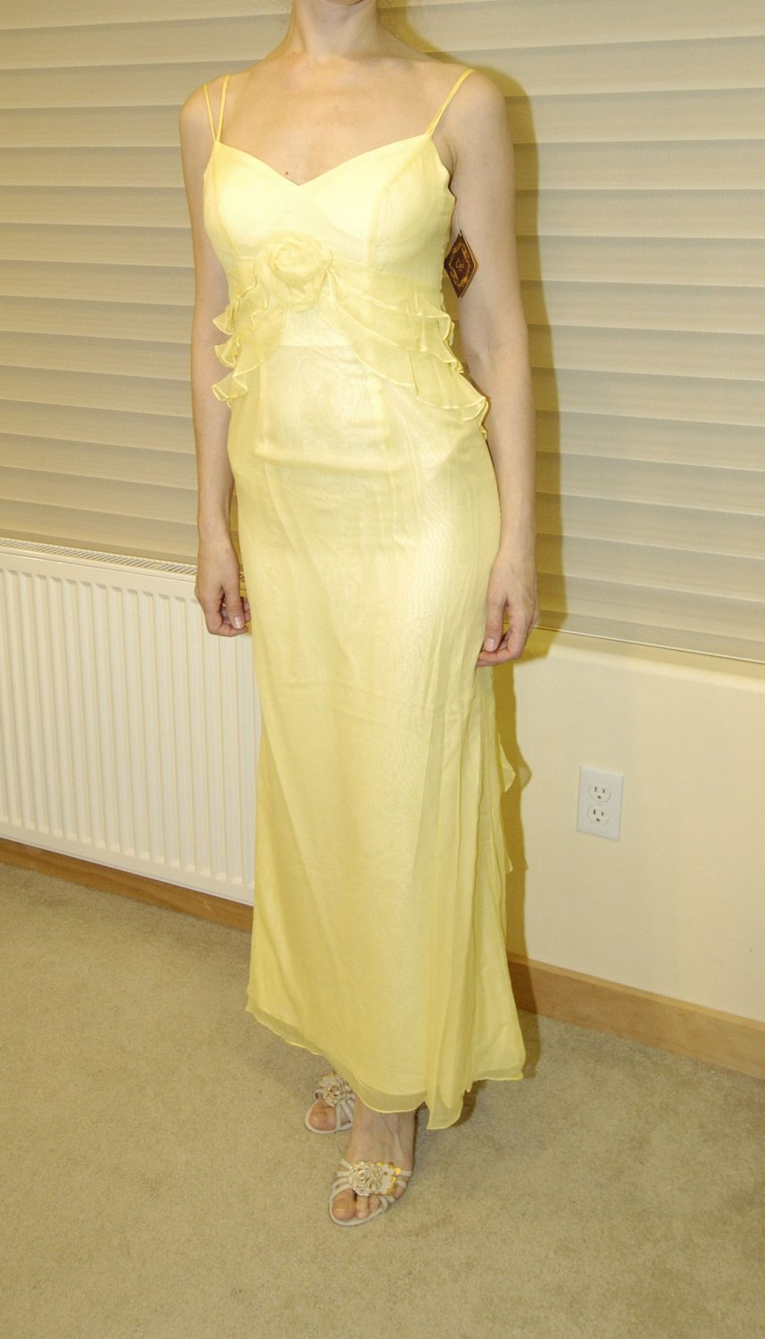 Cicci USA Juniors Yellow silk prom, evening dress, size Medium, M