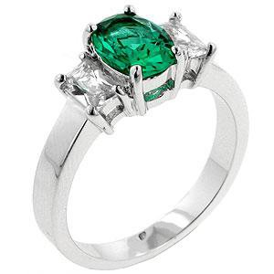 Fashion Ring with Emerald Green & Clear Cubic Zirconia in Silvertone, size 8