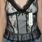 Black & Gold Lace & Mesh top, Size Juniors Large, L