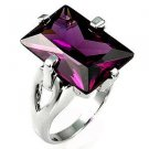 Fashion ring with radiant cut Amethyst Clear Cubic Zirconia in silvertone, size 8