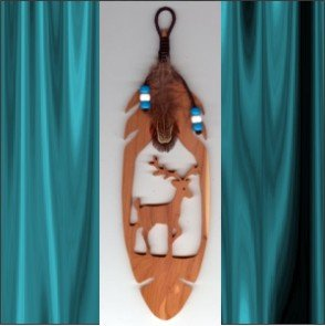 Deer  Aromatic Cedar Feather Wall Hanging