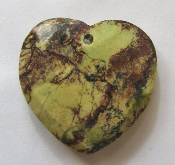 Yellow Turquoise 32x33 Faceted Heart Pendant Bead