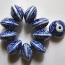 10 Porcelain Blue and White  12x8 Saucer Beads