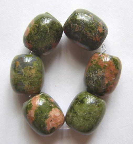 6 Unakite 19x12 Drum Beads