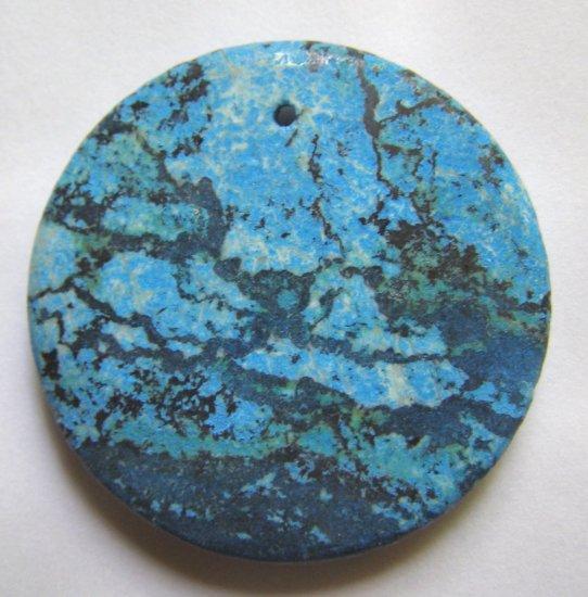 Turquoise Zebra Jasper 40mm Disc Pendant Bead