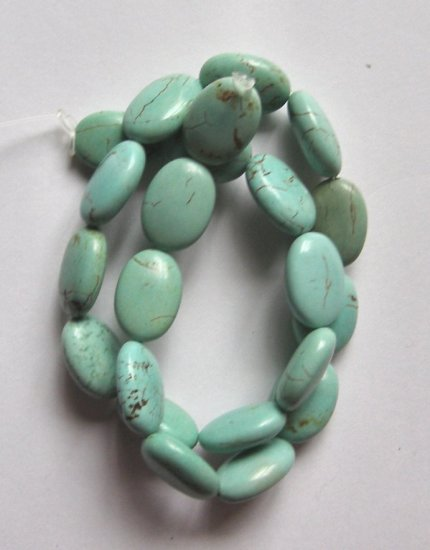 """Turquoise 18x13 Oval Beads 15.5"""" strand"""