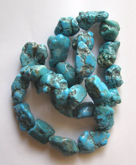 """Turquoise Magnesite Rugged Nugget Beads 16"""" strand"""