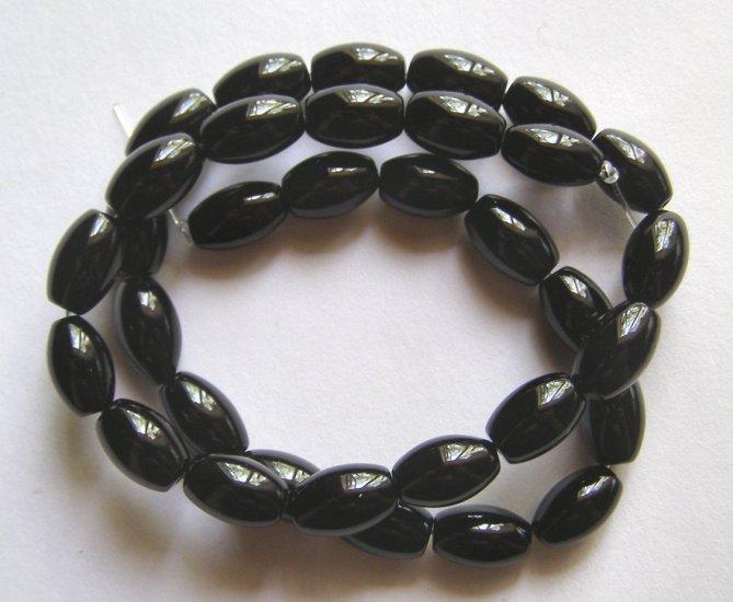 "Black Agate 12x8 Oval Beads 15.5"" Strand"