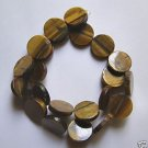 "Tiger Eye 18x4 Flat Coin Beads 15.5"" strand"
