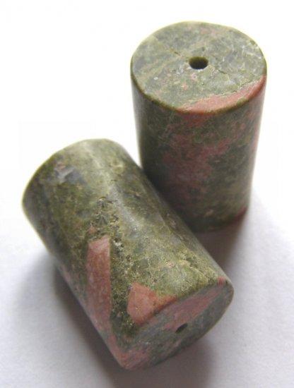 2 Unakite 26x17 Cylinder Beads