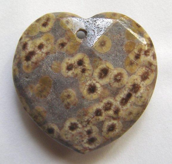 Turtle Jasper 32x33 Faceted Heart Pendant Bead