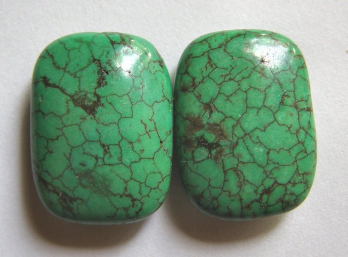 2 Green Turquoise Magnesite 25x18 Rectangle Beads