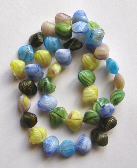 "Tiny Seashells Pressed Glass Beads 16"" Strand"