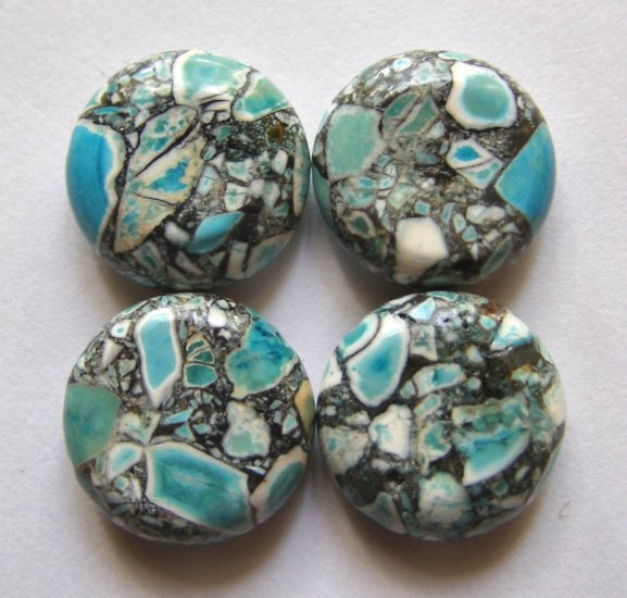 4 Mosaic Turquoise 17x6 Coin Beads