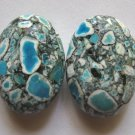 2 Mosaic Turquoise 25x18 Oval Beads
