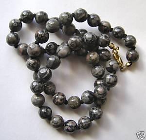 "Fossil Jasper 8mm Round Beads 17"" strand"