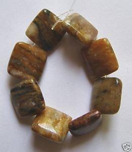 8 Tiger Jasper 12x12 Square Beads