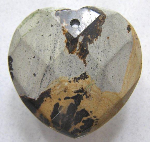 Nature's Paintbrush Jasper 33x33 Faceted Heart Pendant Bead