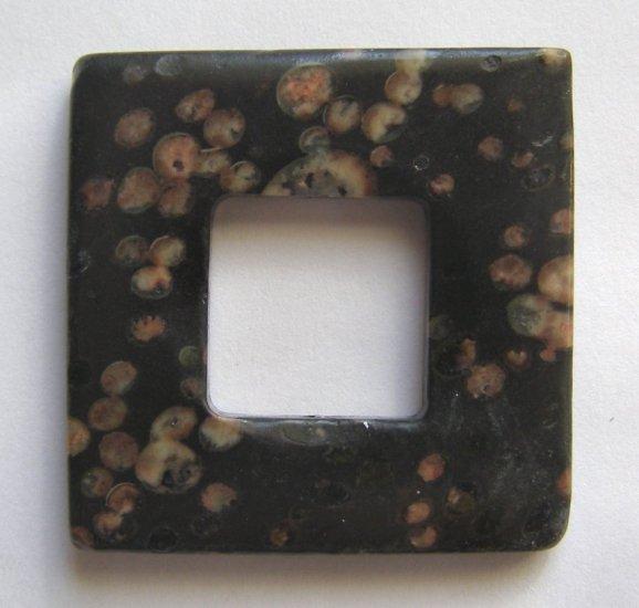 Plum Blossom Jasper 38x38 Square Frame Pendant Bead