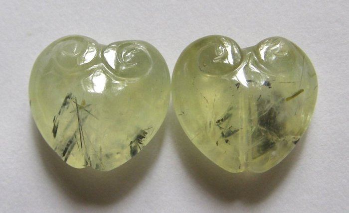 2 Prehnite 19x20 Carved Heart  Beads