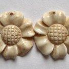 2 Carved Bone 24x25 Daisy Beads