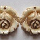 2 Carved Bone 20x20 Rose Beads