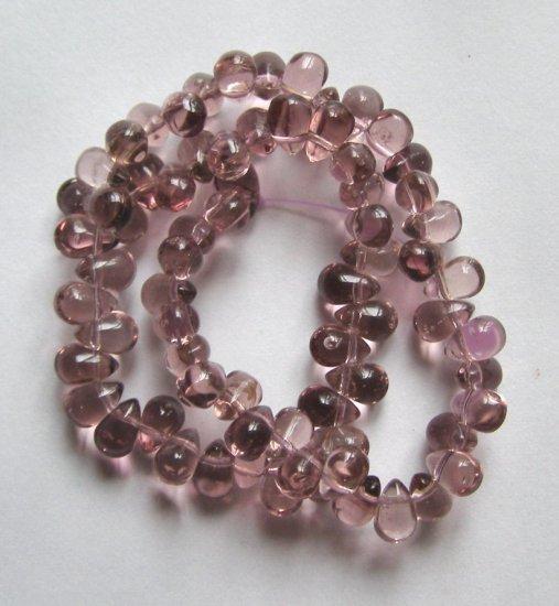 "Light Amethyst Teardrop Glass Beads 12"" Strand"