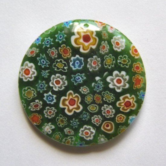 Green Millefiori 40mm Disc Pendant Bead