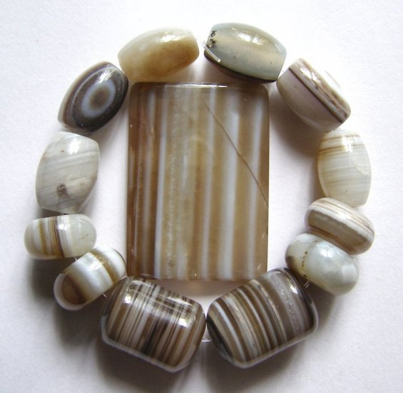 Sardonyx Agate 35x25 Rectangle Pendant Bead Set