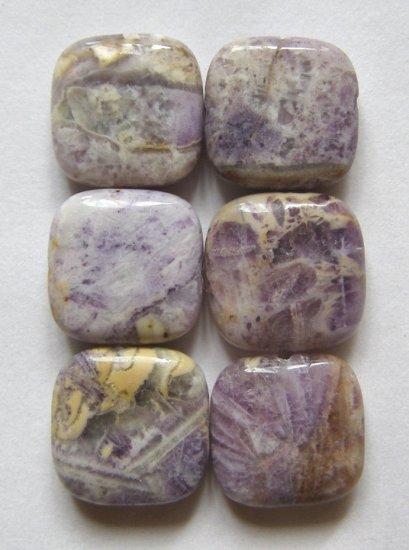 6 Mongolian Fluorite 14x14 Square Beads