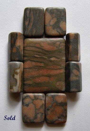Desert Sunset Picture Jasper Pendant Bead Set