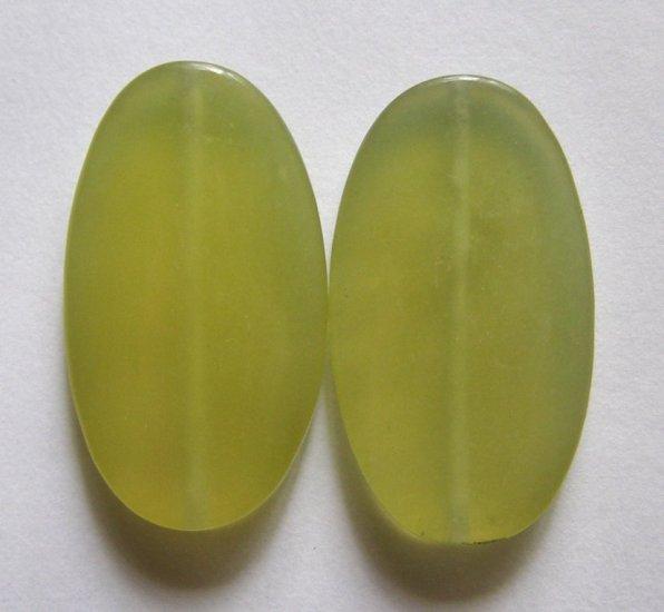 2 Olive Jade 35x20 Oval Pendant Beads