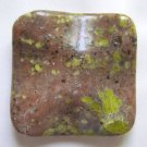 Spice Jasper 40mm Wavy Square Pendant Bead