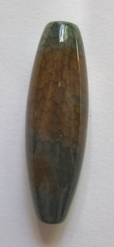 Olive Web Agate 39x13 Tube Pendant Bead