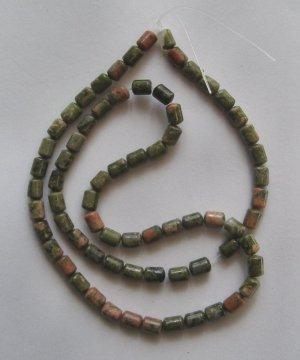 """Unakite 6x4 Tiny Drum Beads 16"""" strand"""