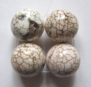 4 Terracotta Blush Magnesite 16mm Round Beads