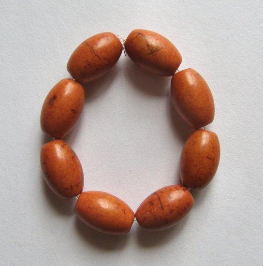 8 Orange Magnesite15x10 Barrel Beads