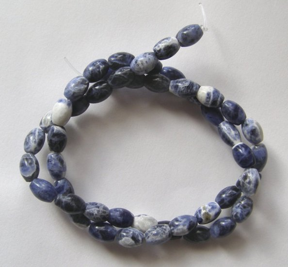 "Sodalite 8x5 Barrel Beads 16"" strand"