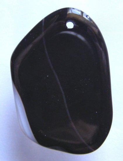 Banded Black Agate 49x32 Freeform Pendant Bead