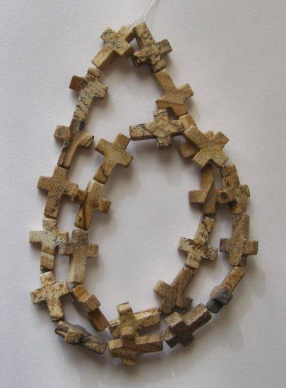 "Picture Jasper 16x12 Cross Beads 16""Strand"