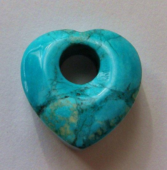 Turquoise Magnesite 26x25 Heart Pendant Bead